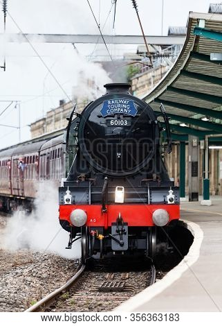 Carlisle, England - August 7:  The Flying Scotsman, A Preserved Steam Locomotive, Heads The Waverley