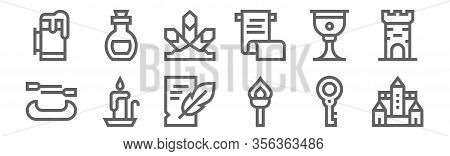 Set Of 12 Medieval Items Icons. Outline Thin Line Icons Such As Castle, Torch, Candlestick, Goblet,