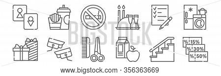 Set Of 12 Mall Icons. Outline Thin Line Icons Such As Coupon, Food, Security Camera, Shopping List,