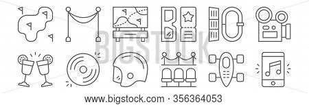 Set Of 12 Amusement Icons. Outline Thin Line Icons Such As Smartphone, Premier, Vinyl, Carabiner, Go