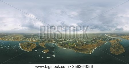 Two Islands On A Large River. Pattern Of Reeds On The River 360 Degree Pano
