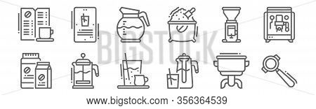 Set Of 12 Coffee Icons. Outline Thin Line Icons Such As Portafilter, Cold, French, Coffee Grinder, C