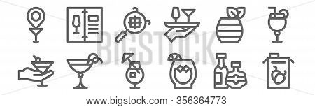 Set Of 12 Cocktails Icons. Outline Thin Line Icons Such As Juice, Cocktail, Cocktail, Cocktail, Siev