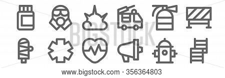 Set Of 12 Emergencies Icons. Outline Thin Line Icons Such As Emergency, Emergency, Emergency, Fire E
