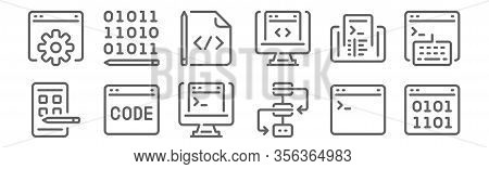 Set Of 12 Programming And Coding Icons. Outline Thin Line Icons Such As Binary Code, Workflow, Code,