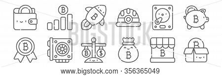 Set Of 12 Bitcoin Icons. Outline Thin Line Icons Such As Bitcoin, Money Bag, Graphic Card, Hard Disk