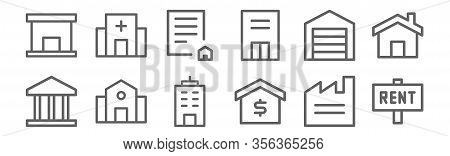 Set Of 12 Building Icons. Outline Thin Line Icons Such As Rent, House, School, Garage, Contract, Hos