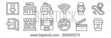 Set Of 12 Mall Icons. Outline Thin Line Icons Such As Coffee Cup, No Smoking, Showcase, Wristwatch,