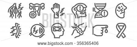 Set Of 12 Disease Icons. Outline Thin Line Icons Such As Ribbon, Cartilage, Eye, Genetics, Injury, V