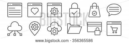 Set Of 12 Seo And Marketing Icons. Outline Thin Line Icons Such As Browser, Data Storage, Cog, Bag,