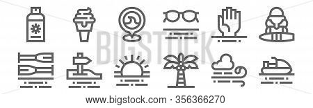 Set Of 12 Surf Icons. Outline Thin Line Icons Such As Jet Ski, Palm Tree, , Drowning, Beach, Ice Cre