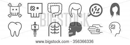 Set Of 12 Body Parts Icons. Outline Thin Line Icons Such As Male Head, Human Skull Side View, Human
