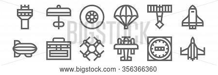 Set Of 12 Aviation Icons. Outline Thin Line Icons Such As Fighter, Aeroplane, Toolbox, Demoiselle, W