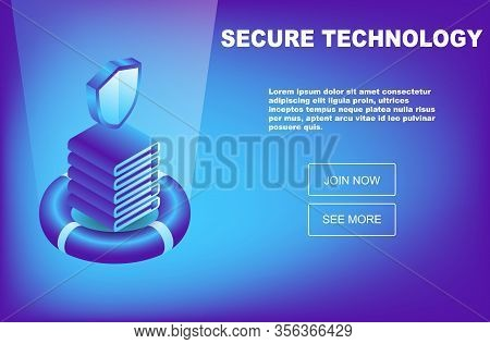 Isometric Database Protection Concept. Server Room Rack, Database Security, Shield Server Unit, Comp
