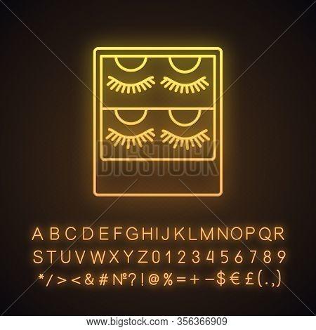 False Eyelashes Packaging Neon Light Icon. Temporary Lashes Extension. 3d Lashes Strips. Fake Eyelas