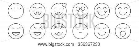 Set Of 12 Emoji Icons. Outline Thin Line Icons Such As Shout, Annoyed, In Love, Happy, Blushing, Che