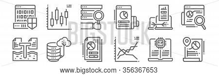 Set Of 12 Data Analytics Icons. Outline Thin Line Icons Such As Data, Line, Data, Server, Box