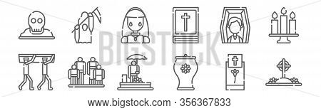 Set Of 12 Funeral Icons. Outline Thin Line Icons Such As Grave, Urn, Family, Deceased, Crying, Death