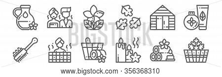 Set Of 12 Sauna Icons. Outline Thin Line Icons Such As Bucket, Candle, Sauna, Sauna, Lotus,
