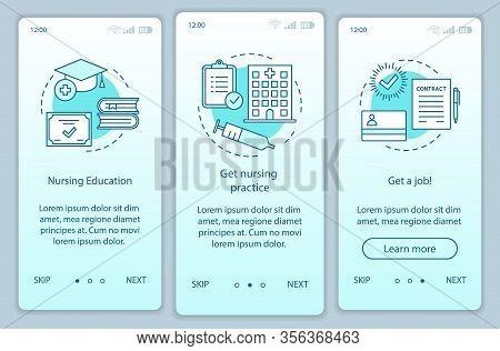 Nursing Education Onboarding Mobile App Page Screen Vector Template. Become Caregiver Walkthrough We