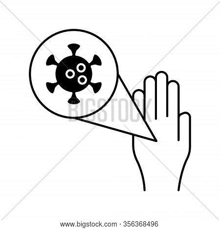 Hand Infected With Pathogen Icon Line Vector Icon Bacteria Virus Corona Virus Icon