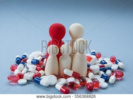 A Concept Of The Misuse And Overuse Of Pills, Tablets And Drugs Such As Antibiotics, Paracetamol, Ib