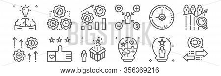 Set Of 12 Talent Management Icons. Outline Thin Line Icons Such As Mobility, Skills, Like, Time Mana