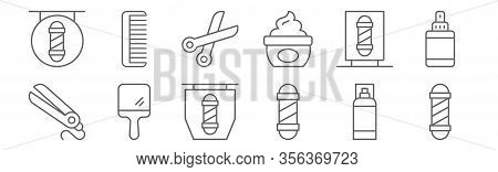 Set Of 12 Barber Shop Icons. Outline Thin Line Icons Such As Barber Pole, Barber Pole, Hand Mirror,