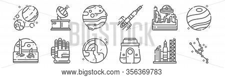 Set Of 12 Space Icons. Outline Thin Line Icons Such As Constellation, Space Capsule, Glove, Space Co