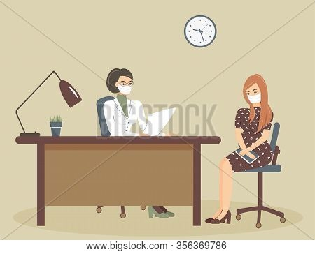 Cute Young Pregnant Woman At A Doctor's Appointment. Physician And Patient In Protective Medical Mas