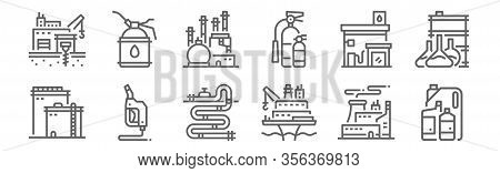 Set Of 12 Petroleum Icons. Outline Thin Line Icons Such As Oil, Oil Platform, Petrol, Gas Station, O
