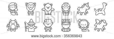 Set Of 12 Fantastic Characters Icons. Outline Thin Line Icons Such As Pegasus, King, Wizard, Unicorn