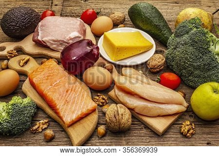 Trendy Ketogenic Diet Products Set. Paleo, Pegan Low Carbs Nutrition