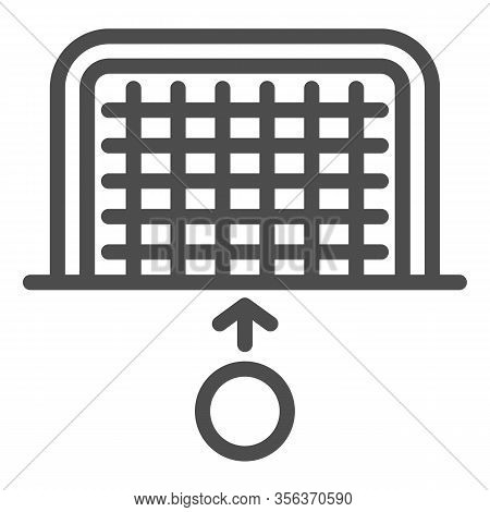 Goal And Ball Line Icon. Soccer Gate With Soccer-ball, Penalty Or Attack Symbol, Outline Style Picto