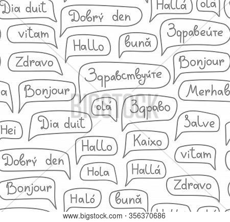 Hello, European Languages, Seamless Pattern, Contour Drawing, Monochrome, White, Vector. The Word