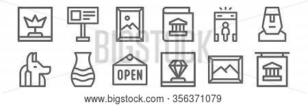 Set Of 12 Museum Icons. Outline Thin Line Icons Such As Museum, Diamond, Amphora, Metal Detector, Pa