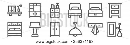 Set Of 12 Furnitures Icons. Outline Thin Line Icons Such As Mirror, Ceiling Light, Lamp, Sofa Bed, C