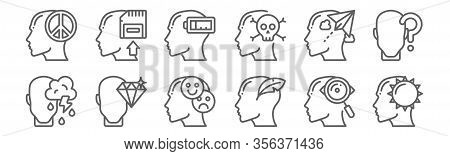 Set Of 12 Human Mind Icons. Outline Thin Line Icons Such As Happy, Creative, Perfectionist, Inspirat