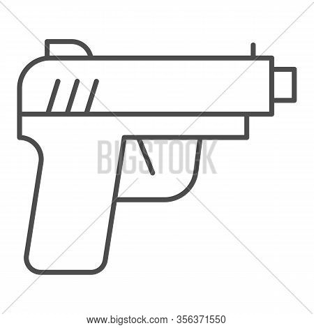 Pistol Thin Line Icon. Firearm Or Handgun Weapon, Gangster Gun Symbol, Outline Style Pictogram On Wh