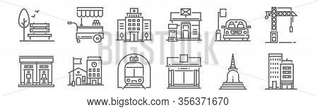 Set Of 12 City And Village Icons. Outline Thin Line Icons Such As Building, Supermarket, School, Car
