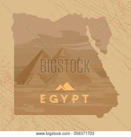 Vector Illustration Of The Great Sphinx In Giza Inscribed On The Map Of Egypt With The Pyramids Of E