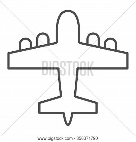 Bomber Airplane Thin Line Icon. War Aircraft, Aerial Reconnaissance Army Plane Symbol, Outline Style
