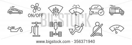 Set Of 12 Auto Icons. Outline Thin Line Icons Such As Windshield, Chair, Pump, Car, Windshield, Vent