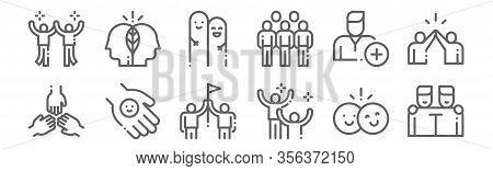 Set Of 12 Friendship Icons. Outline Thin Line Icons Such As Friends, Happiness, Friendly, Add Friend