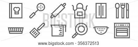 Set Of 12 Cooking Icons. Outline Thin Line Icons Such As Oven, Pan, Spatula, Fridge, Rolling Pin, Sk
