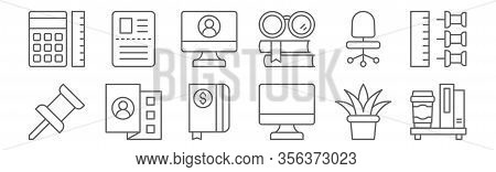 Set Of 12 Workplace Icons. Outline Thin Line Icons Such As Bookshelf, Monitor, Curriculum, Desk Chai