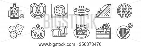 Set Of 12 August Bakery Icons. Outline Thin Line Icons Such As Churros, Brownie, Bread, Sandwich, Fo
