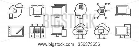 Set Of 12 Computers And Network Icons. Outline Thin Line Icons Such As Personal Computer, Cloud Stor