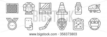Set Of 12 Hockey Icons. Outline Thin Line Icons Such As Hockey Helmet, Hockey Helmet, Penalty Card,