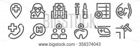 Set Of 12 Hospital Icons. Outline Thin Line Icons Such As Reflex, Tooth, Search, Medical History, Ho